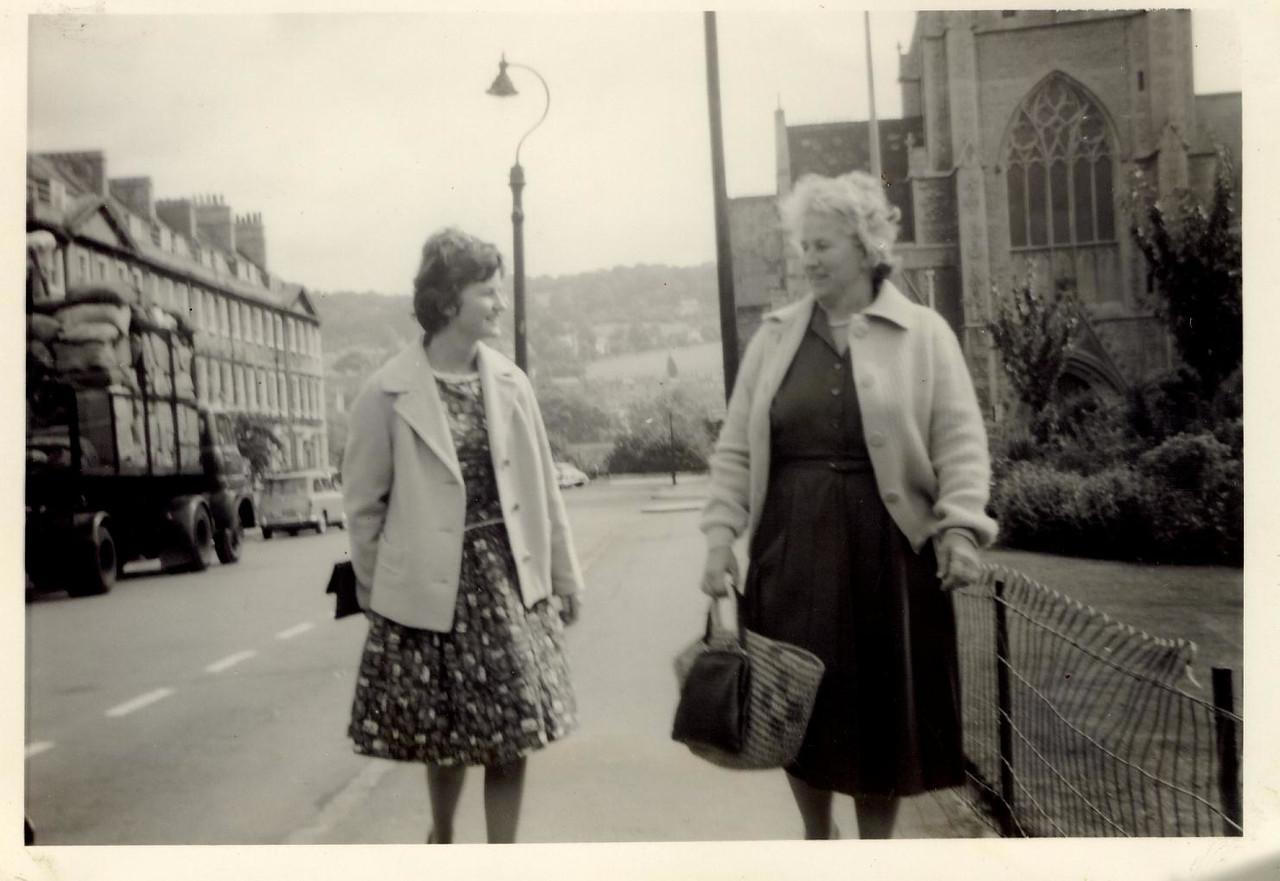 1963 07 Janet & A  Jane, Bath, July 1963